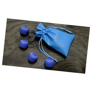 Set of 4 Leather Balls Made for Cups and Balls Magic Trick - Blue